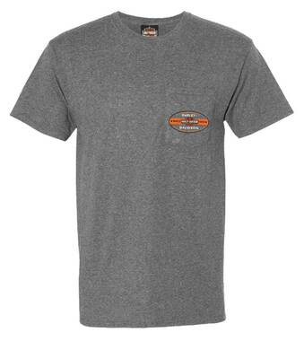 Harley-Davidson Men's Vintage Bar & Shield Chest Pocket Short Sleeve Tee, Gray - Wisconsin Harley-Davidson