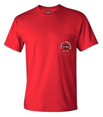 Harley-Davidson Men's Bar & Shield Logo Chest Pocket Short Sleeve T-Shirt, Red - Wisconsin Harley-Davidson