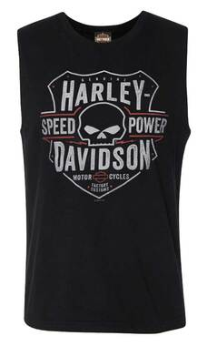 Harley-Davidson Men's Willie G Skull Sleeveless Cotton Muscle Shirt, Black - Wisconsin Harley-Davidson