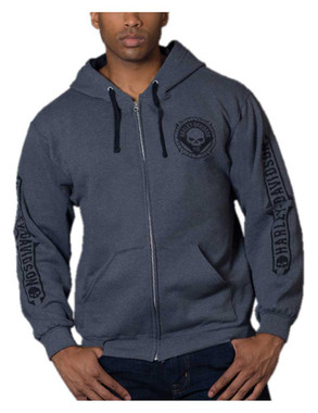 Harley-Davidson Men's Willie G Skull Zip-Up Poly-Blend Hoodie - Charcoal Gray - Wisconsin Harley-Davidson