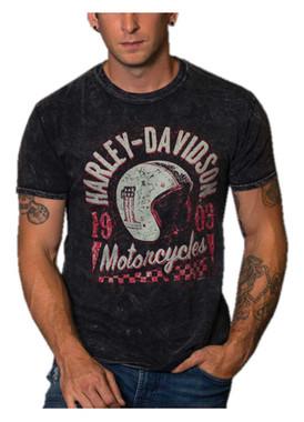 Harley-Davidson Men's Retro Helmet Crew-Neck Short Sleeve Cotton T-Shirt, Black - Wisconsin Harley-Davidson