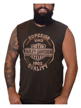 Harley-Davidson Men's Next Gear B&S Sleeveless Cotton Muscle Shirt, Brown - Wisconsin Harley-Davidson