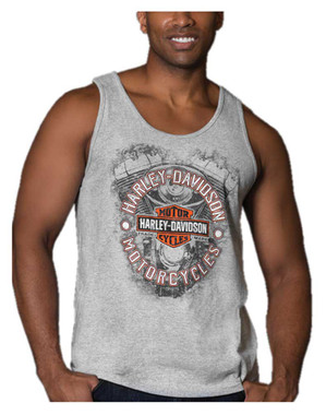 Harley-Davidson Men's Mayhem Engine Sleeveless Cotton Muscle Shirt, Gray - Wisconsin Harley-Davidson