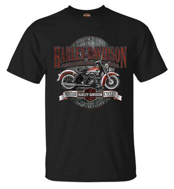 Harley-Davidson Men's Vintage Bike Short Sleeve Crew-Neck Cotton T-Shirt, Black - Wisconsin Harley-Davidson