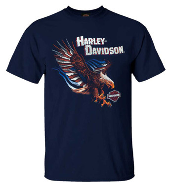 Harley-Davidson Men's Patriot Wings Crew-Neck Short Sleeve Cotton T-Shirt, Navy - Wisconsin Harley-Davidson
