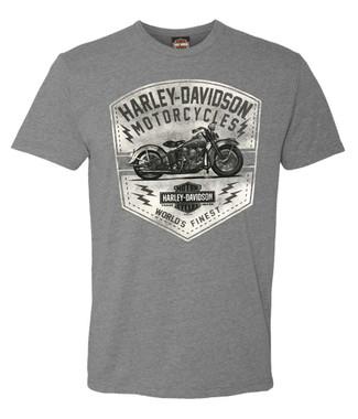Harley-Davidson Men's Vintage Motorcycle Tri-Blend Short Sleeve T-Shirt, Gray - Wisconsin Harley-Davidson