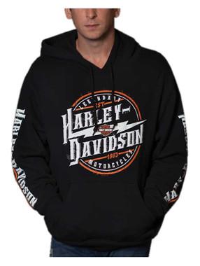 Harley-Davidson Men's Maximize H-D Pullover Poly-Blend Fleece Hoodie, Black - Wisconsin Harley-Davidson