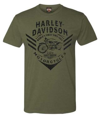 Harley-Davidson Men's Vintage Command Soft Blend Short Sleeve T-Shirt, Green - Wisconsin Harley-Davidson