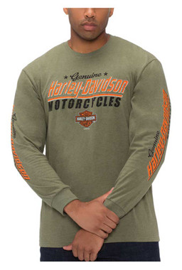 Harley-Davidson Men's Genuine H-D Long Sleeve Crew-Neck Poly-Blend T-Shirt - Wisconsin Harley-Davidson