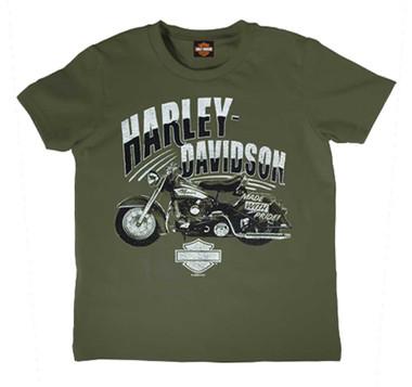 Harley-Davidson Boy's Vintage Short Sleeve Cotton Tee, Toddler & Youth, Green - Wisconsin Harley-Davidson