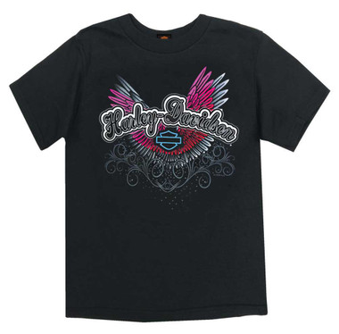 Harley-Davidson Girl's Colorful Wings Short Sleeve Tee, Toddler & Youth, Black - Wisconsin Harley-Davidson