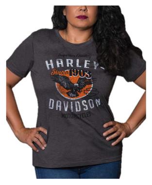 Harley-Davidson Women's Distressed Eagle Scoop Neck Short Sleeve Poly-Blend Tee - Wisconsin Harley-Davidson
