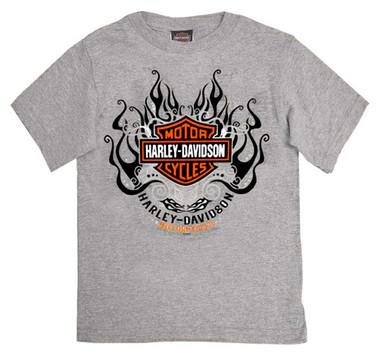 Harley-Davidson Girl's Starry B&S Short Sleeve T-Shirt, Toddler & Youth, Gray - Wisconsin Harley-Davidson