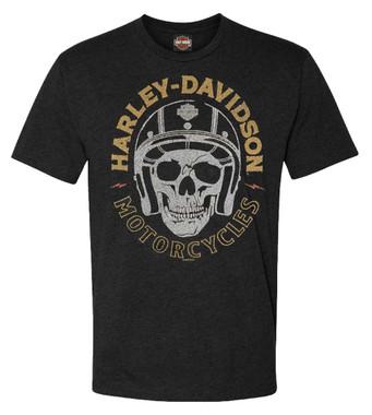 Harley-Davidson Men's Skull & Helmet Short Sleeve Poly-Blend T-Shirt, Black - Wisconsin Harley-Davidson