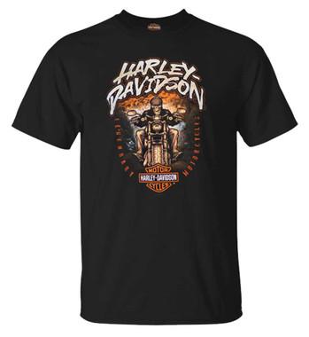 Harley-Davidson Men's Skull Biker Short Sleeve Crew-Neck Cotton T-Shirt, Black - Wisconsin Harley-Davidson