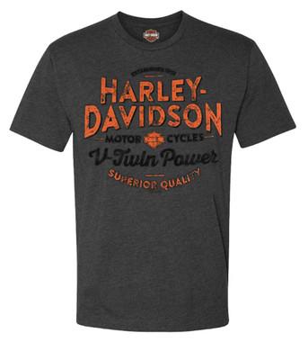 Harley-Davidson Men's Big Rumble Crew-Neck Short Sleeve T-Shirt, Charcoal - Wisconsin Harley-Davidson