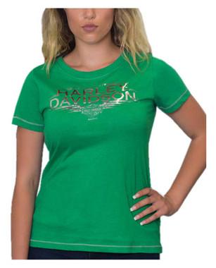 Harley-Davidson Women's Swift Speed Scoop Neck Short Sleeve Tee, Kelly Green - Wisconsin Harley-Davidson