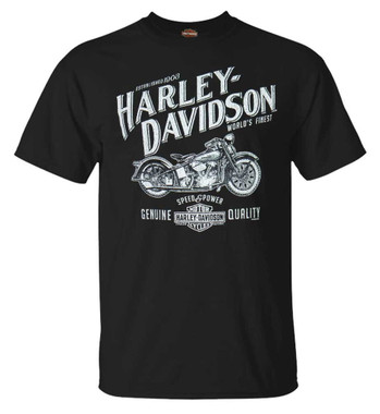 Harley-Davidson Men's Archival H-D Short Sleeve Crew-Neck Cotton T-Shirt, Black - Wisconsin Harley-Davidson
