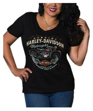 Harley-Davidson Women's Embellished Angel V-Neck Short Sleeve Tee, Black - Wisconsin Harley-Davidson