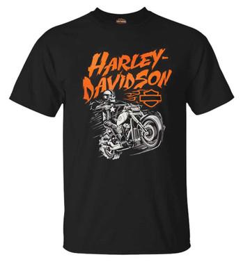 Harley-Davidson Men's Stuntman Biker Short Sleeve Crew-Neck Cotton Tee, Black - Wisconsin Harley-Davidson