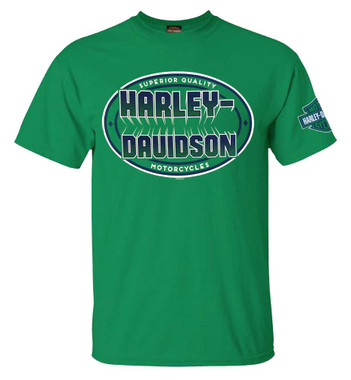 Harley-Davidson Men's Bold H-D Crew-Neck Short Sleeve Cotton T-Shirt, Green - Wisconsin Harley-Davidson