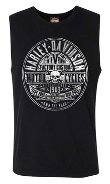 Harley-Davidson Men's Factory Stamp Sleeveless Cotton Muscle Shirt, Black - Wisconsin Harley-Davidson
