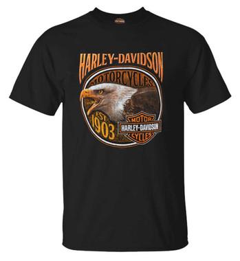 Harley-Davidson Men's Fire Breather Crew-Neck Short Sleeve Cotton T-Shirt, Black - Wisconsin Harley-Davidson