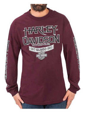 Harley-Davidson Men's High Grade H-D Long Sleeve Crew Neck T-Shirt, Burgundy - Wisconsin Harley-Davidson