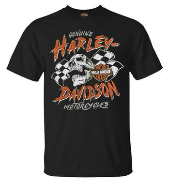 Harley-Davidson Men's Warrior Racer Short Sleeve Crew-Neck Cotton Tee, Black - Wisconsin Harley-Davidson