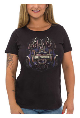 Harley-Davidson Women's Foiled Fire B&S Short Sleeve Scoop Neck T-Shirt, Black - Wisconsin Harley-Davidson