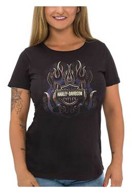 Harley-Davidson Women's Foiled Fire B&S Short Sleeve Scoop Neck T-Shirt, Black - Wisconsin Harley-Davidson