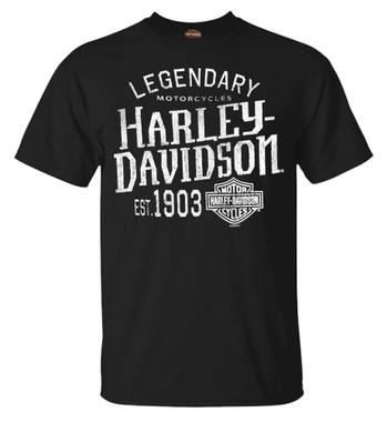 Harley-Davidson Men's Distressed H-D Short Sleeve Crew-Neck Cotton Tee, Black - Wisconsin Harley-Davidson