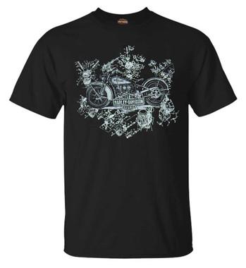 Harley-Davidson Men's Vintage Blueprint Short Sleeve Crew-Neck Cotton Tee, Black - Wisconsin Harley-Davidson