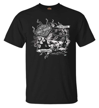 Harley-Davidson Men's Sketch Skull Short Sleeve Crew-Neck Cotton T-Shirt, Black - Wisconsin Harley-Davidson