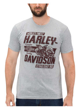 Harley-Davidson Men's Finest Panhead Poly-Blend Short Sleeve T-Shirt, Gray - Wisconsin Harley-Davidson