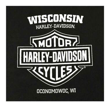 Harley-Davidson Men's Traditional B&S Chest Pocket Short Sleeve T-Shirt, Black - Wisconsin Harley-Davidson