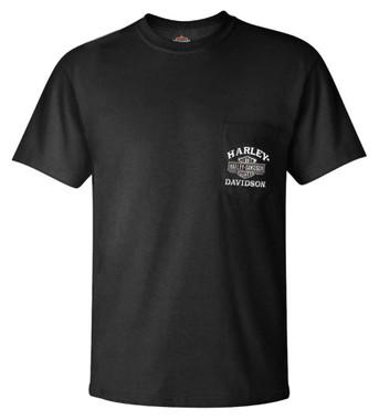 Harley-Davidson Men's Traditional B&S Chest Pocket Short Sleeve T-Shirt, Black - Wisconsin Harley-Davidson