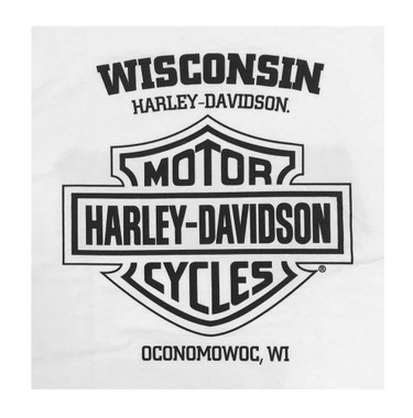 Harley-Davidson Men's Elastic H-D All-Cotton Short Sleeve Crew-Neck Tee, White - Wisconsin Harley-Davidson