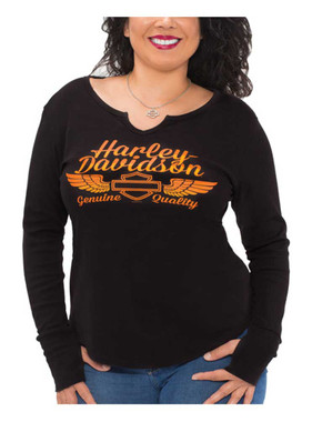 Harley-Davidson Women's Bright H-D Notched V-Neck Long Sleeve Shirt, Black - Wisconsin Harley-Davidson
