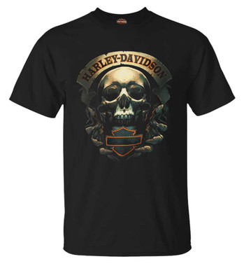 Harley-Davidson Men's Skeleton B&S Short Sleeve Crew-Neck Cotton Tee, Black - Wisconsin Harley-Davidson