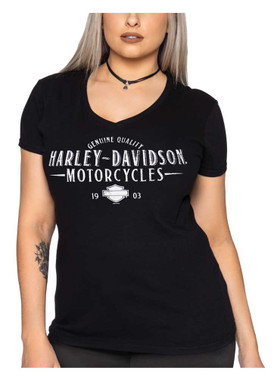Harley-Davidson Women's Classic H-D V-Neck Short Sleeve Cotton Tee, Black - Wisconsin Harley-Davidson
