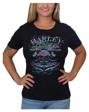 Harley-Davidson Women's Embellished Dirty Flames Short Sleeve Crew Tee, Black - Wisconsin Harley-Davidson