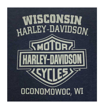 Harley-Davidson Men's Proverb Crew-Neck Short Sleeve Poly-Blend T-Shirt, Navy - Wisconsin Harley-Davidson
