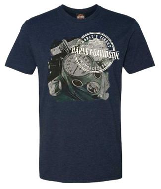 Harley-Davidson Men's Proverb Crew-Neck Short Sleeve Poly-Blend T-Shirt, Navy - Wisconsin Harley-Davidson