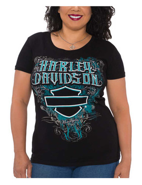 Harley-Davidson Women's Dream B&S Round Neck Short Sleeve T-Shirt, Black - Wisconsin Harley-Davidson