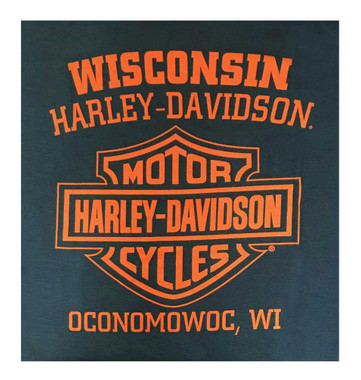 Harley-Davidson Men's Line Crest Short Sleeve Poly-Blend T-Shirt, Harbor Blue - Wisconsin Harley-Davidson