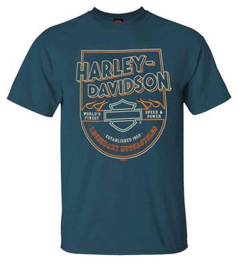 Harley-Davidson Men's Line Crest Short Sleeve Poly-Blend T-Shirt, Harbor Blue - Wisconsin Harley-Davidson