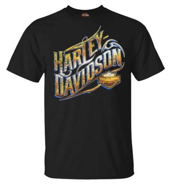 Harley-Davidson Men's Bright & Bold H-D Short Sleeve Crew-Neck T-Shirt, Black - Wisconsin Harley-Davidson