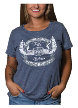 Harley-Davidson Women's Bar & Shield Wing Short Sleeve Scoop Neck T-Shirt, Navy - Wisconsin Harley-Davidson