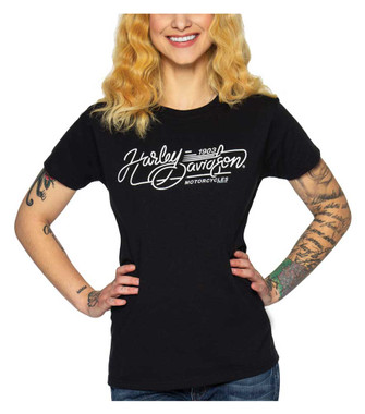 Harley-Davidson Women's H-D Carving Short Sleeve Crew-Neck Cotton Tee - Black - Wisconsin Harley-Davidson